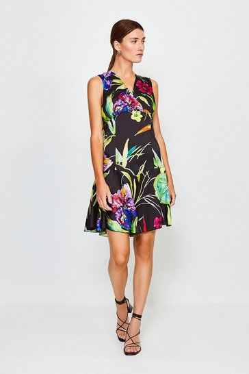 Black Floral Printed Flippy Dress