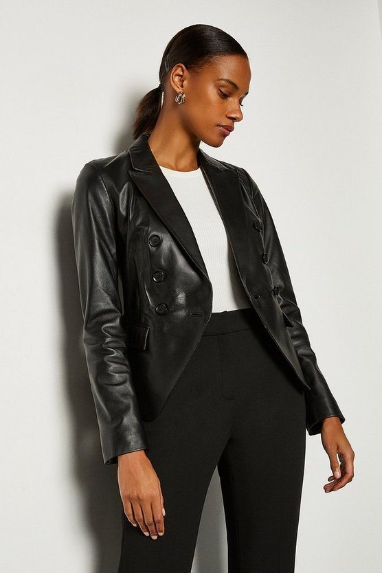Black Leather Button Blazer