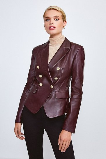 Fig Leather Button Blazer