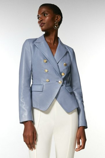 Pale blue Leather Button Blazer