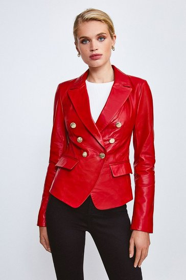 Red Leather Button Blazer