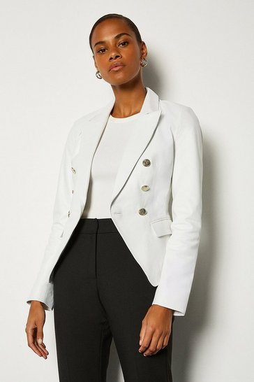 White Leather Button Blazer