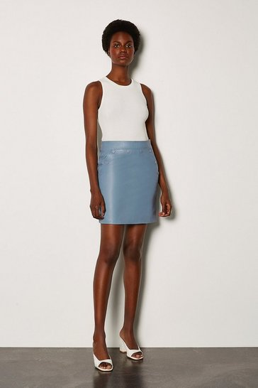 Pale blue Leather Button Mini Skirt
