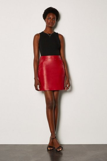 Red Leather Button Mini Skirt