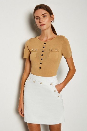 White Leather Button Mini Skirt