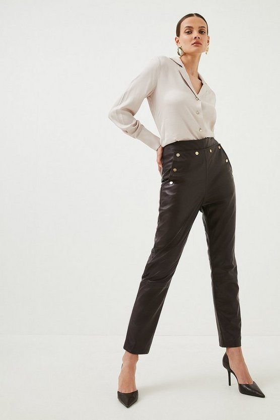 Fig Leather Button Detail Trouser