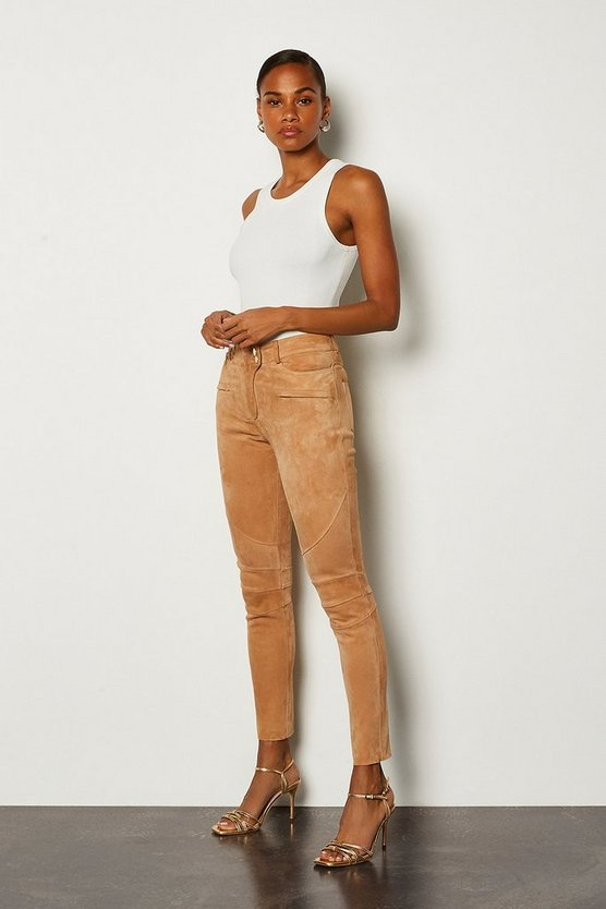 Stone Stretch Suede Biker Leggings