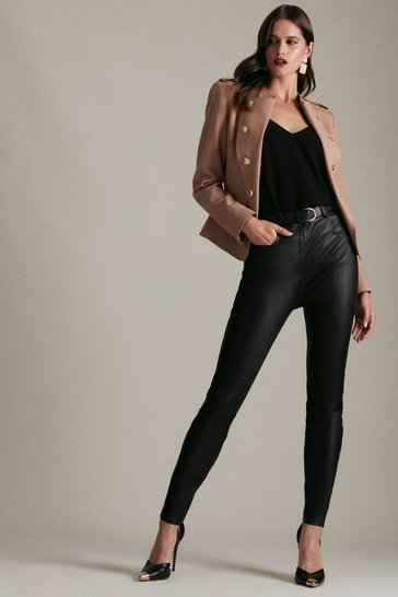 Black Stretch Leather Slim Leg Trouser