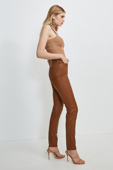 Tan Stretch Leather Five Pocket Jean