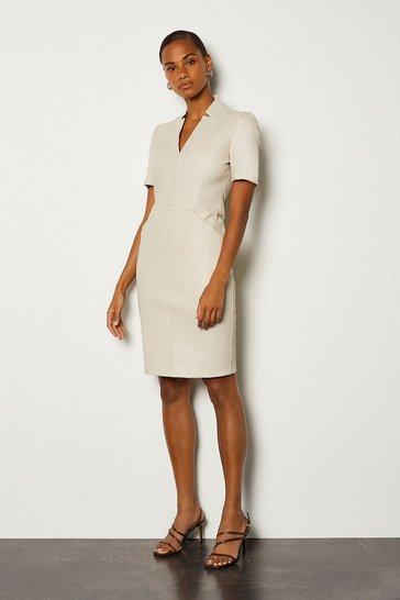 Ivory Stretch Leather Tailored Dress
