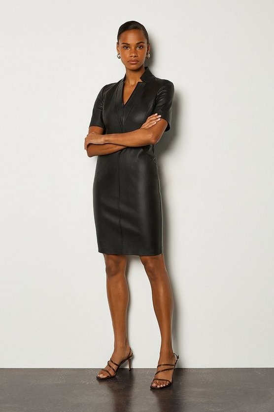 Black Stretch Leather Tailored Dress