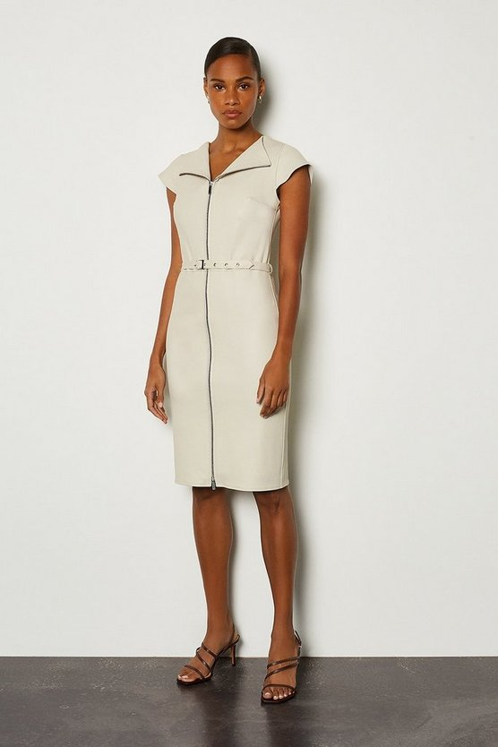 Ivory Stretch Leather Belted Zip Front Dress