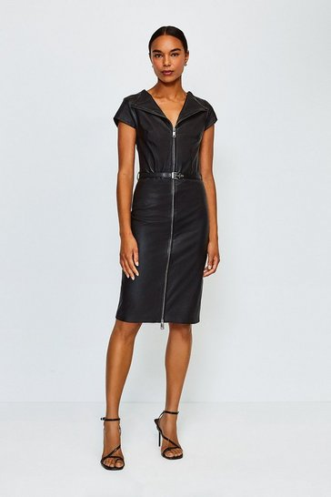Black Stretch Leather Belted Zip Front Dress