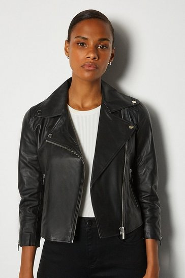 Black Shrunken Leather Biker Jacket