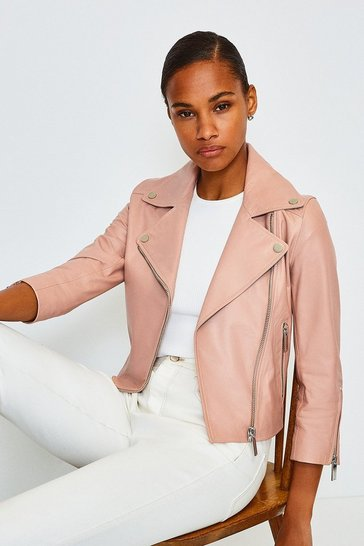 Blush Shrunken Leather Biker Jacket