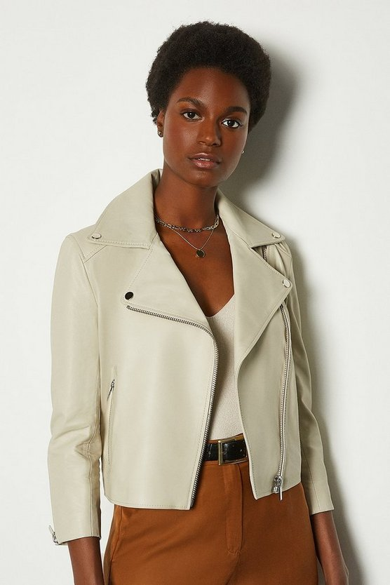 Cream Shrunken Leather Biker Jacket