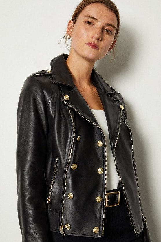 Black Military Leather Biker