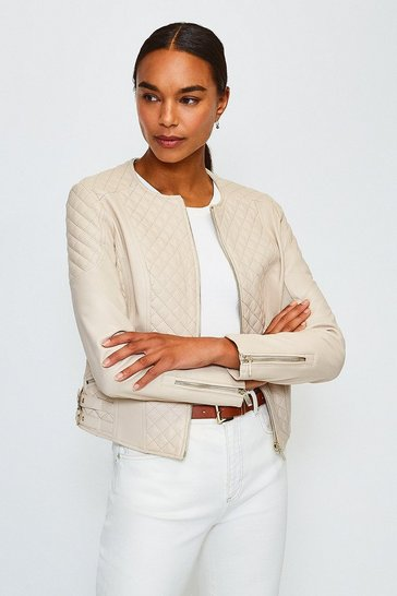 Beige Leather Quilted Biker Jacket