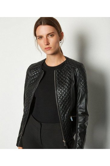 Black Leather Quilted Biker