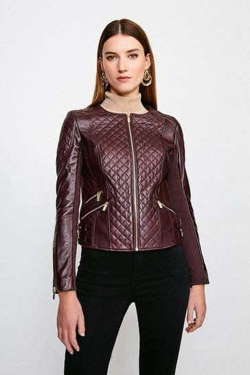 Fig Leather Quilted Biker Jacket