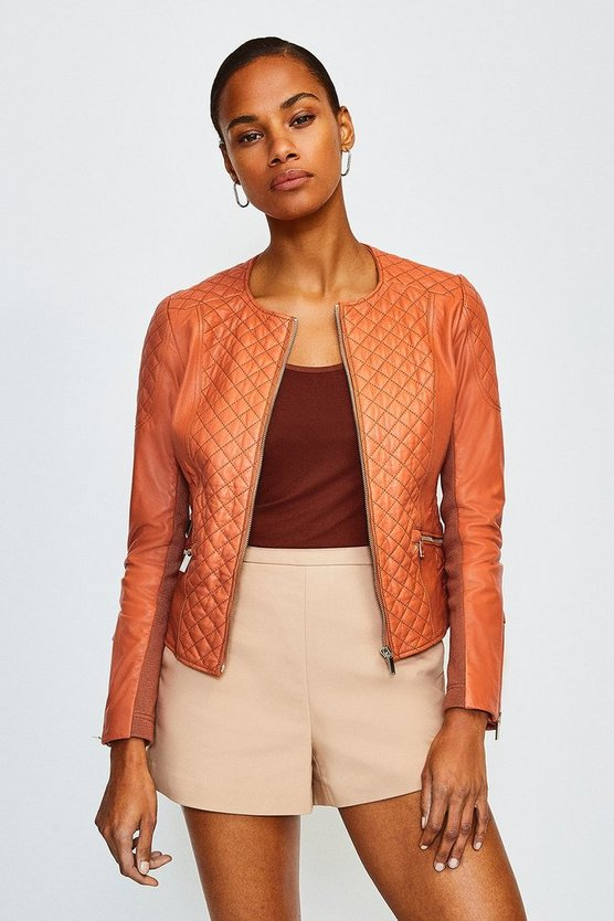 Light brown Leather Quilted Biker Jacket