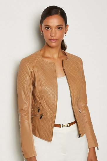 Tan Leather Quilted Biker Jacket