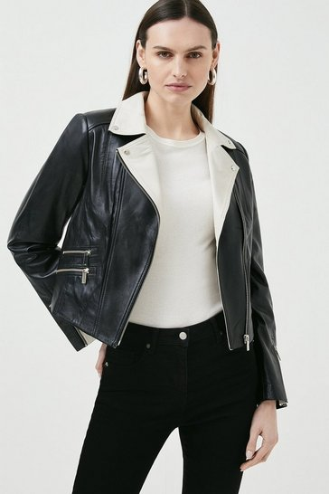Blackwhite Leather Signature Biker Jacket