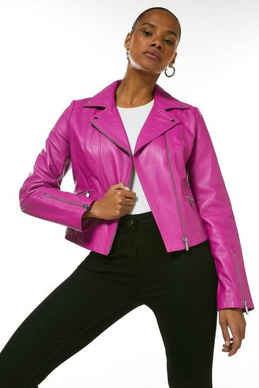 Pink Leather Signature Biker Jacket
