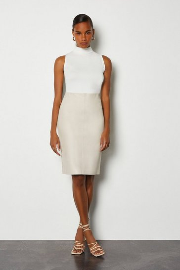 Ivory Stretch Leather Pencil Skirt
