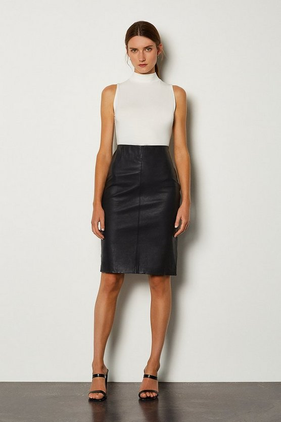 Navy Stretch Leather Pencil Skirt