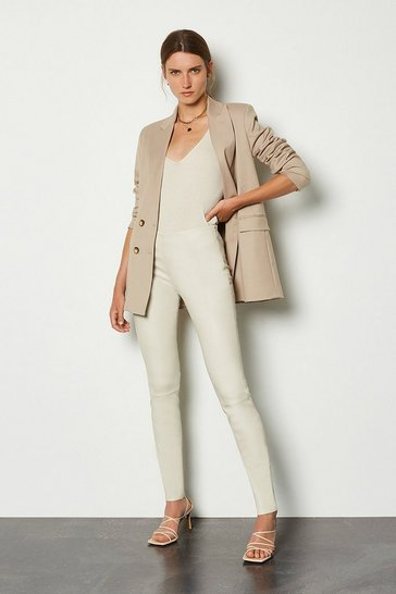 Ivory Stretch Leather Legging