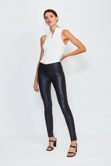 Navy Stretch Leather Legging