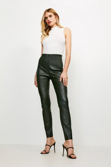 Olive Stretch Leather Legging
