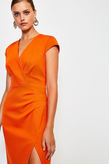 Orange Italian Jersey Cap Sleeve Tuck Detail Dress