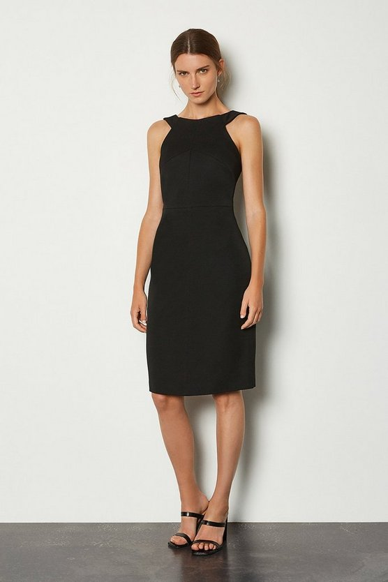 Black Fitted Racer Neck Dress
