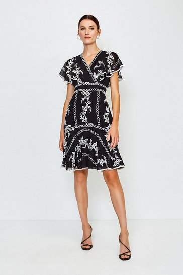 Black Embroidered Fit and Flare Dress