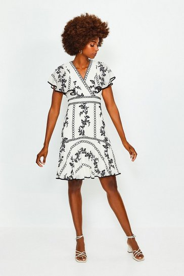 Ivory Embroidered Fit and Flare Dress