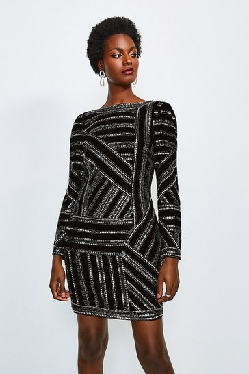Black Velvet Beaded Long Sleeve Dress