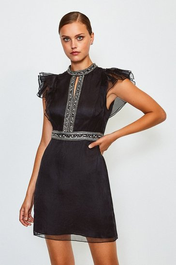 Black Silk Organza Bead Sleeveless Dress