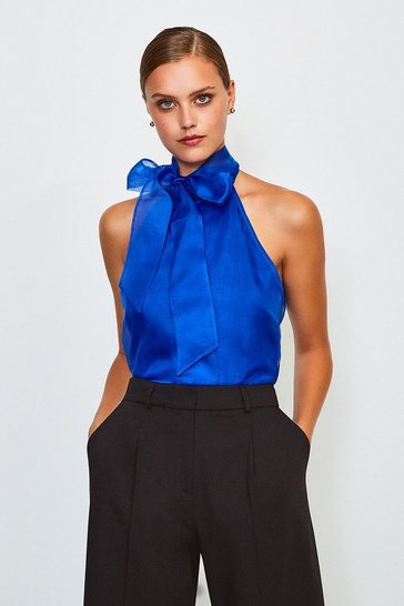 Blue Silk Organza Halter Neck Top