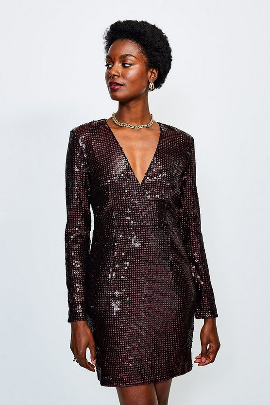 Burgundy Sequin Wrap Front Long Sleeve Dress