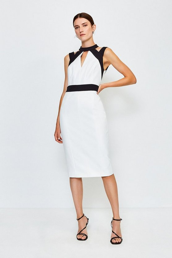Blackwhite Cut Out Panelled Pencil Dress