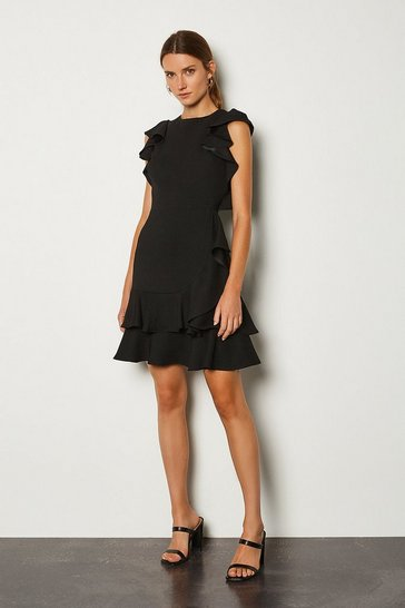 Black Frill Sleeve Hem Dress