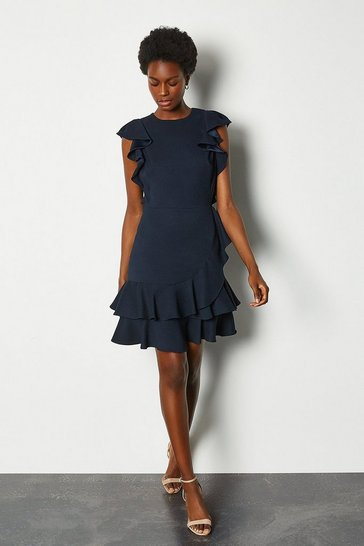 Navy Frill Sleeve Hem Dress