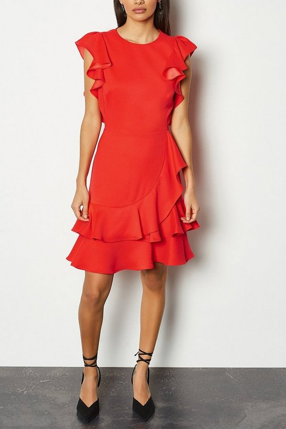 Red Frill Sleeve Hem Dress