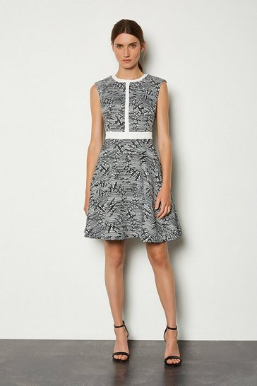 Blackwhite Panelled Jacquard Pop On Dress
