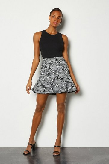 Blackwhite Jacquard Flippy Mini Skirt