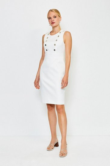 Ivory Button Detail Sleeveless Pique Dress