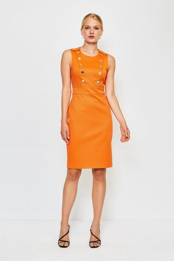 Orange Button Detail Sleeveless Pique Dress