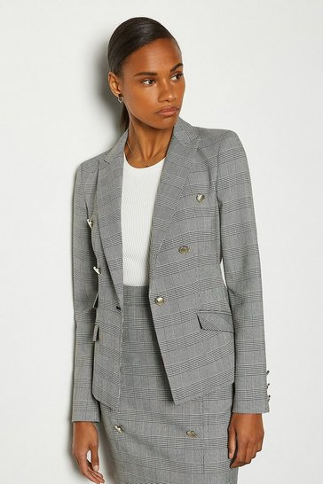 Blackwhite Button Detail Check Jacket